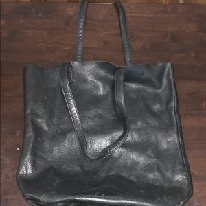 Baggu black leather bag